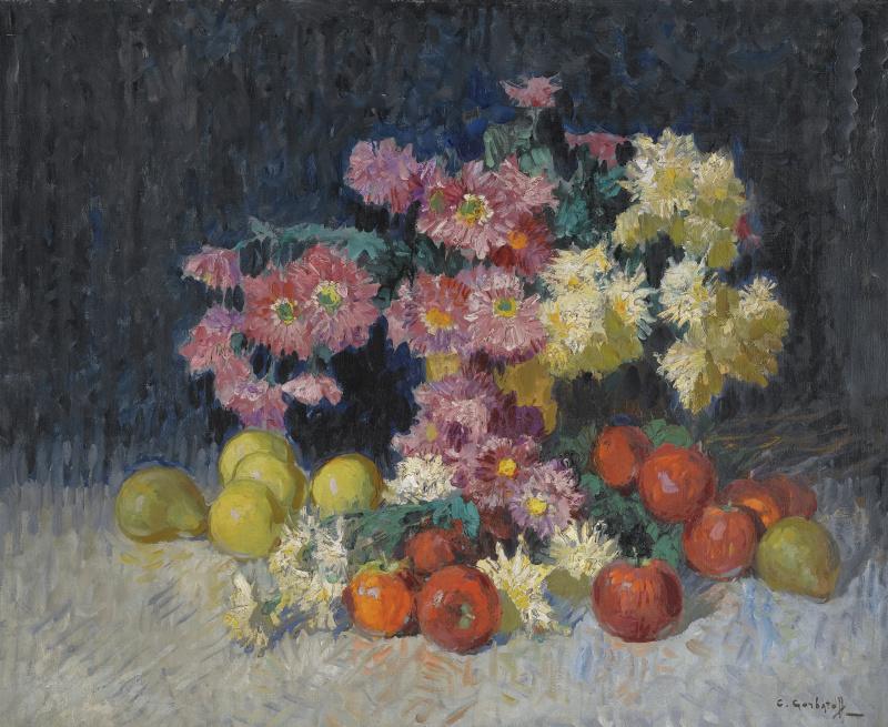 Константин Иванович Горбатов. Натюрморт с цветами и фруктами