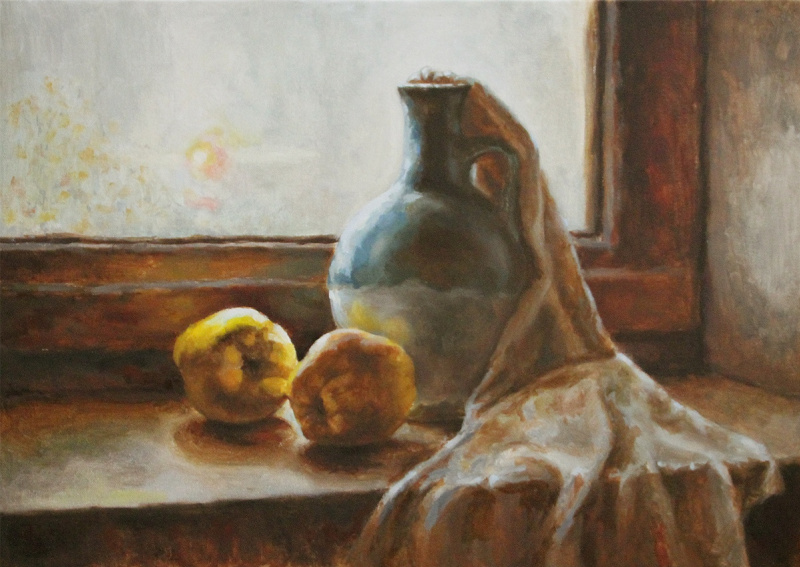 Emelyanova Inna. Still life with quince and turquoise jug