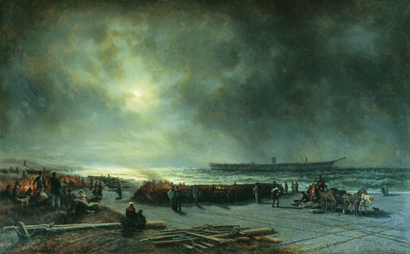 "Alexey Petrovich Bogolyubov. The death of the frigate ""Alexander Nevsky"" (View at night). 1868"
