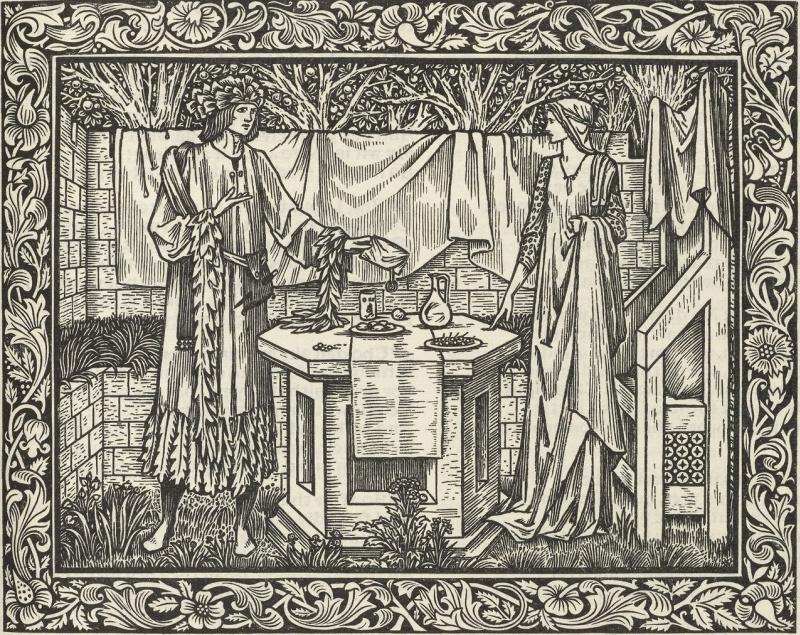 Уильям Моррис. Иллюстрация к сборнику Джефри Чосера авторской книгопечатной мастерской Келмскотт-пресс