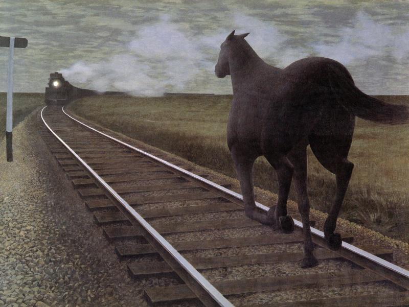 Alex Colville. Horse and train