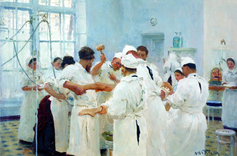 Ilya Efimovich Repin. The surgeon E. Pavlov in the operating room