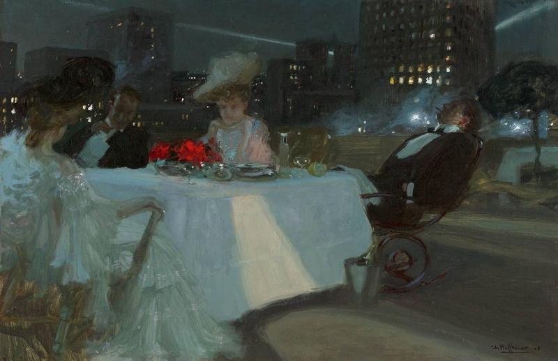 Charles Hoffbauer. Dinner on the Roof