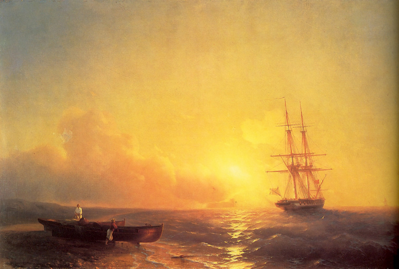 Ivan Aivazovsky. Fishermen on the seashore