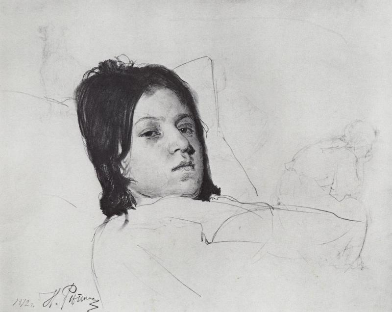 Илья Ефимович Репин. Женская голова (В.А.Репина, лежащая в постели). Этюд