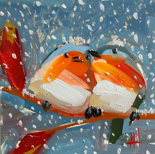 Angela Moulton. Two Robins in the winter