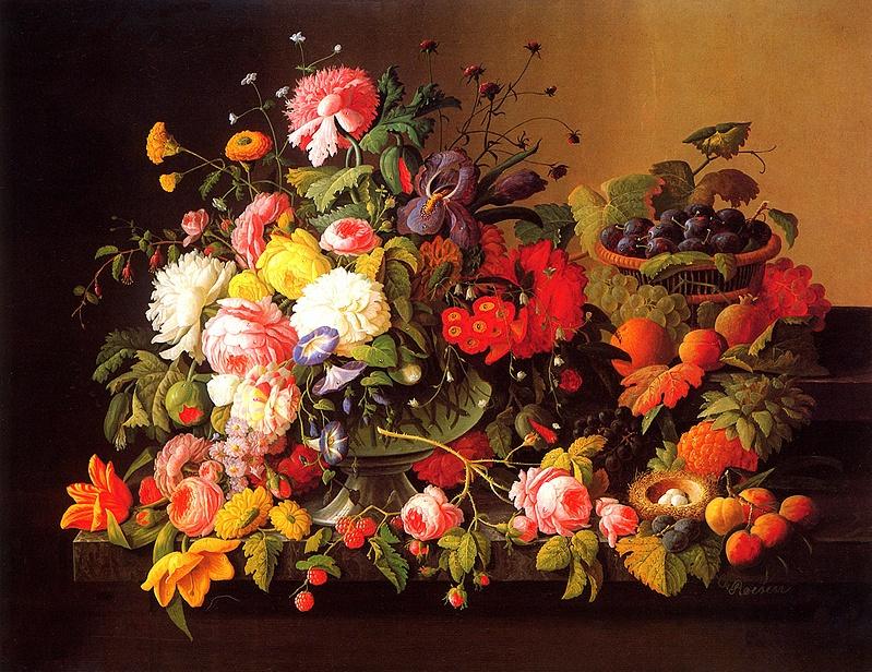 Северин Розен. Натюрморт с цветами и фруктами