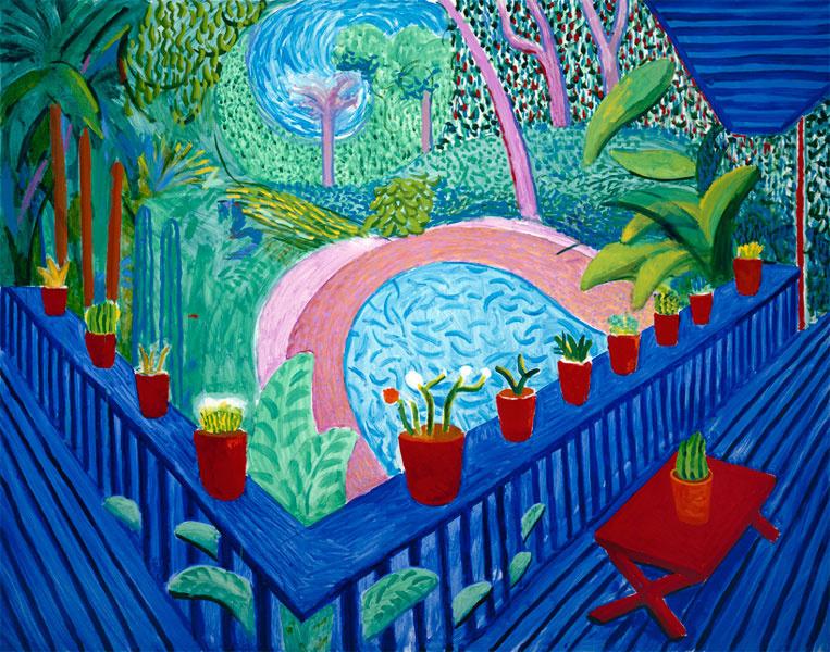 Дэвид Хокни. Красные горшки в саду