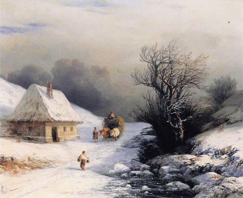 Иван Константинович Айвазовский. Телега с волами зимой