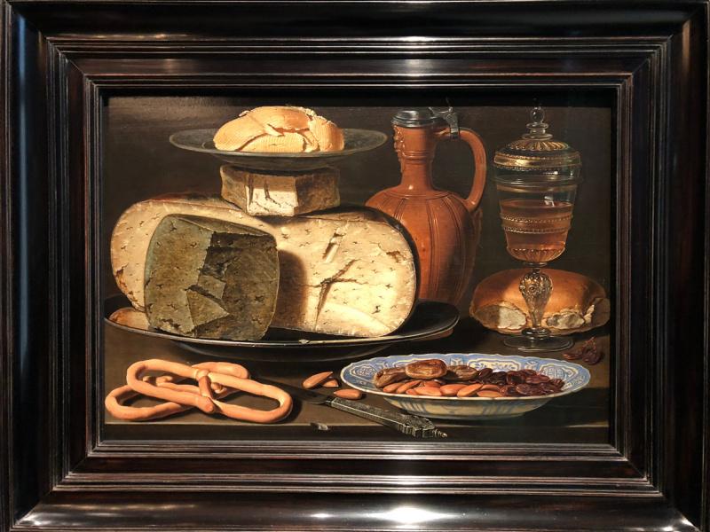 Клара Петерс. Натюрморт с сырами, миндалем и кренделями (брецель) / Still Life with Cheeses, Almonds and Pretzels