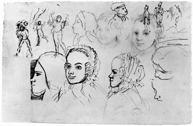Edgar Degas. Sheet with sketches of portraits and figures