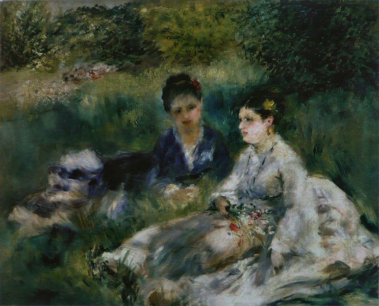 Пьер Огюст Ренуар. На траве (Молодые женщины, сидя в траве)