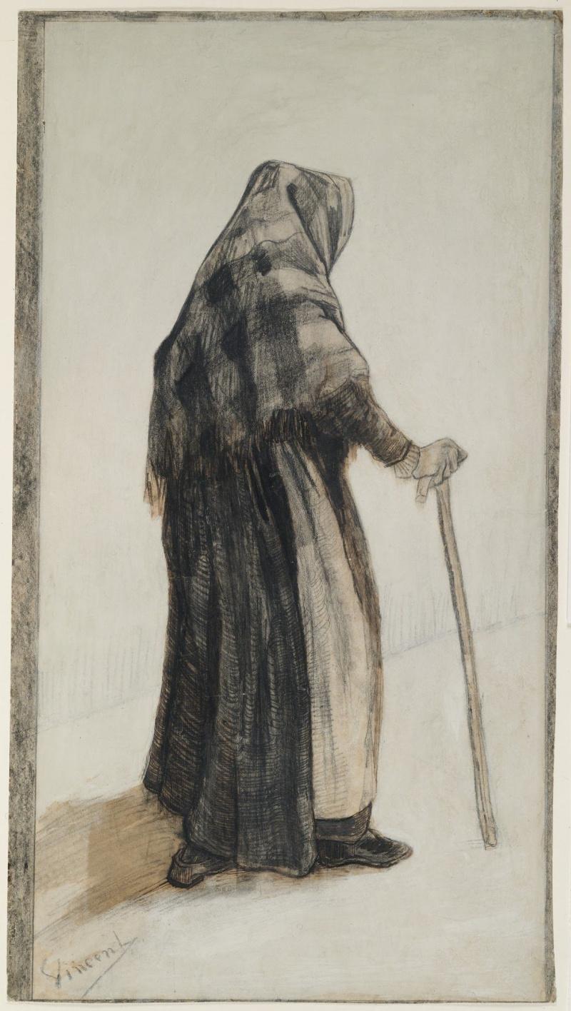 Винсент Ван Гог. Старая женщина с шалью и тростью