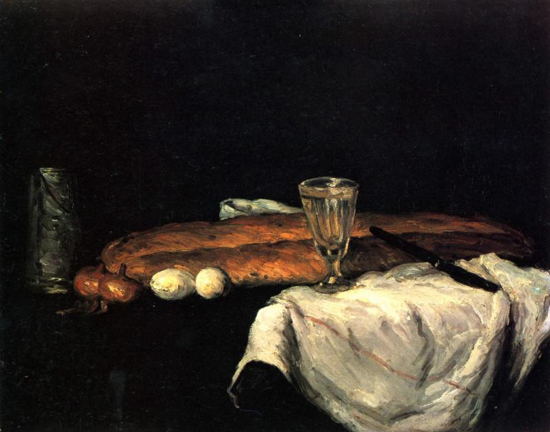 Поль Сезанн. Натюрморт с хлебом и яйцами