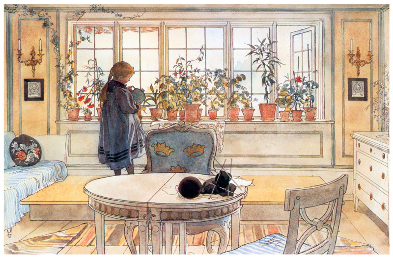 """Carl Larsson. Flowers in the living room. Watercolour from the album """"Our house"""""""