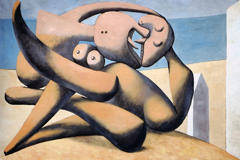 Pablo Picasso. Figures by the sea (the Kiss)