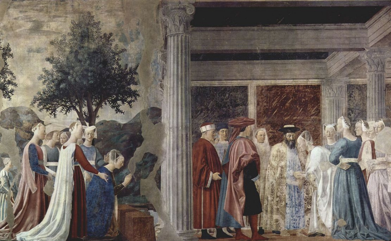 Piero della Francesca. A visit to king Solomon by the Queen of Sheba