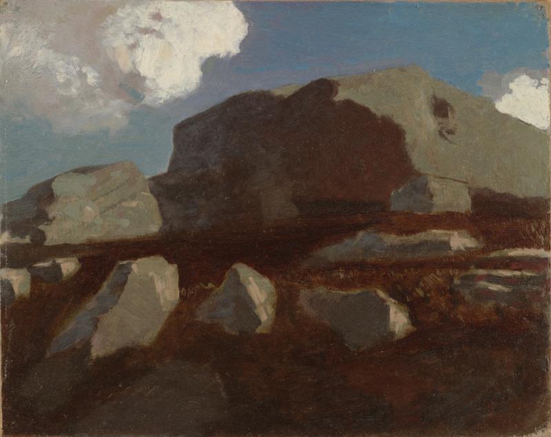 Одилон Редон. Пейзаж с скалами, недалеко от Руана
