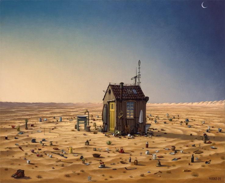 Jacek Yerka. House in the desert