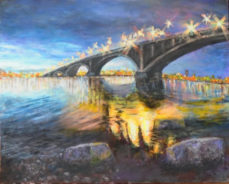 Alexander Vasilyevich Kozhevnikov. In the evening. bridge.