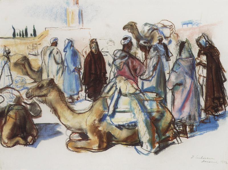 Зинаида Евгеньевна Серебрякова. Рынок с верблюдами. Марракеш