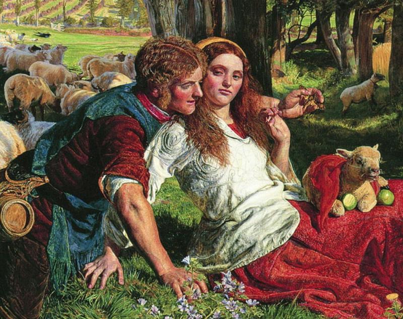 Уильям Холман Хант. Наемный пастух (Угодивший в сети). Фрагмент
