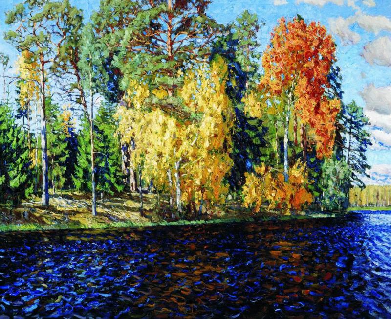 Станислав Юлианович Жуковский. Лесное озеро (Золотая осень. Синяя вода)