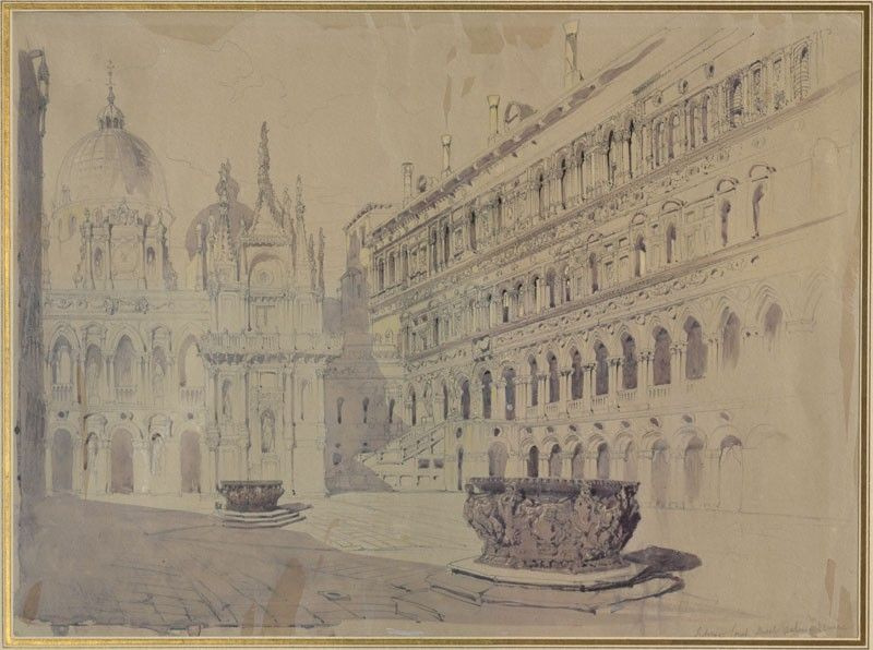 Дэвид Робертс. Двор палаццо дожей в Венеции
