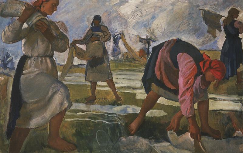 Zinaida Serebryakova. The bleaching of the canvas (first version)