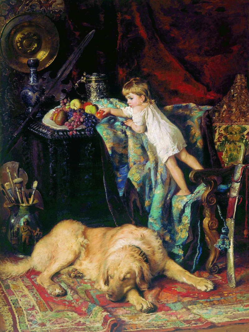 Konstantin Makovsky. In the artist's Studio (the Little thief)