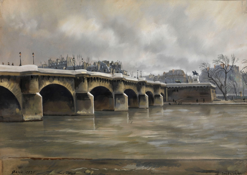 Александр Борисович Серебряков.. Париж, Пон-Нёф (Новый мост). 1934