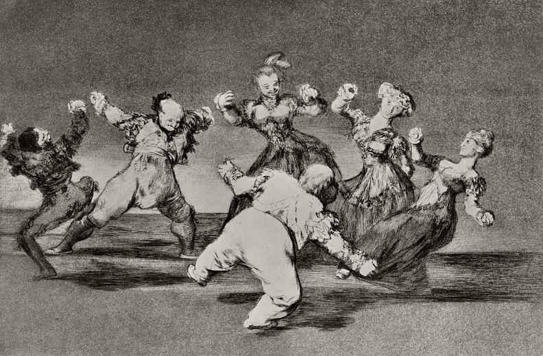 "Francisco Goya. A series of ""Disparates"", sheet 12: the Hilarious stupidity"