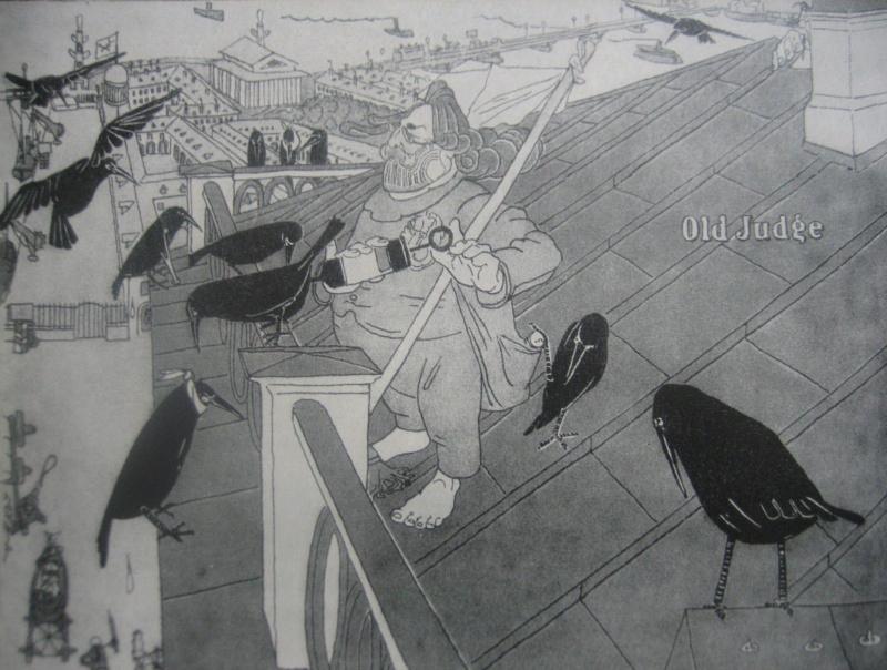 Павел Егорович Щербов. Пернатые пациенты  (А.И.Куинджи на крыше своего дома).Карикатура