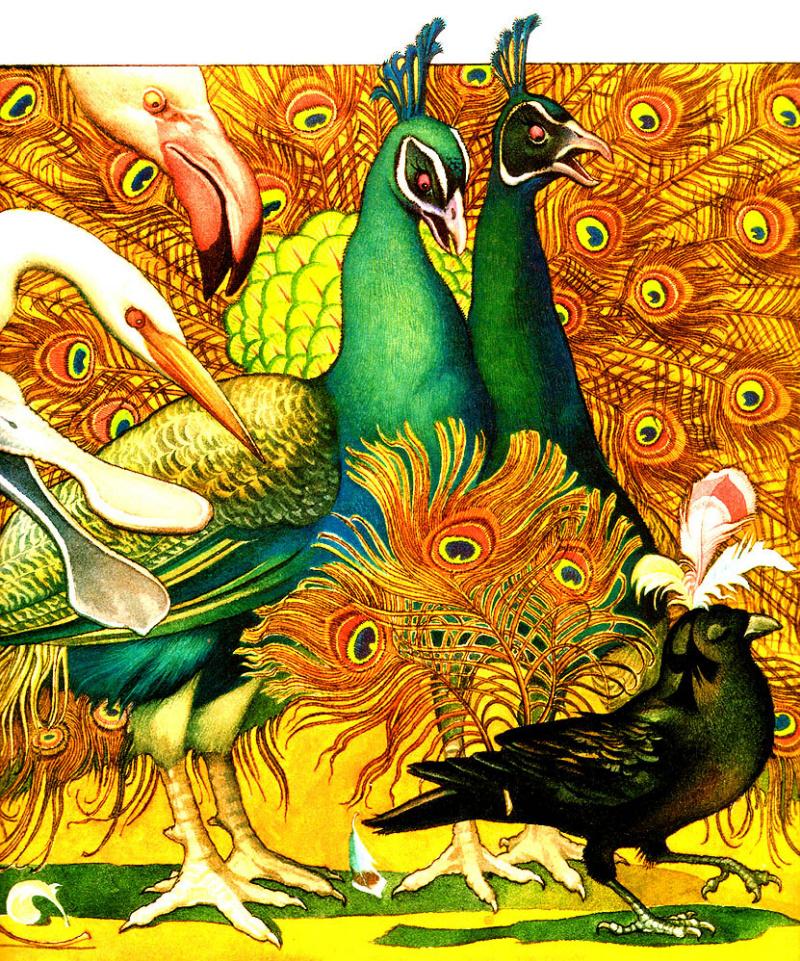 сил ворона в павлиньих перьях картинка обычной плите получится