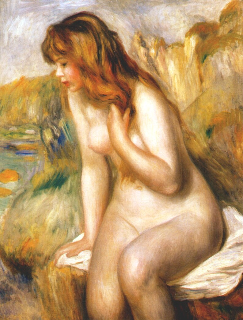 Pierre-Auguste Renoir. Bather sitting on a rock