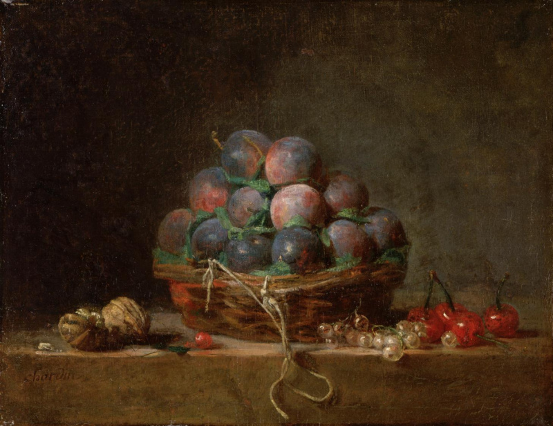 Jean Baptiste Simeon Chardin. Still life with walnuts, a basket of plums and cherries