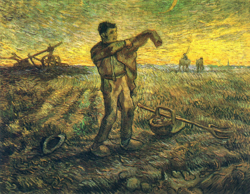 Vincent van Gogh. Evening: the end of the day (inspired by Millais)