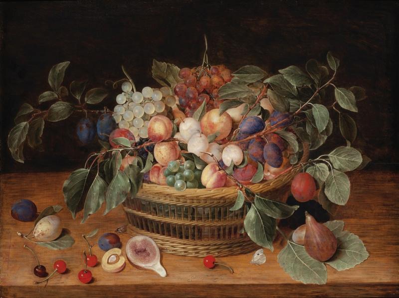 Якоб ван Хюльсдонк. Натюрморт с персиками, сливами и виноградом в корзине на полке