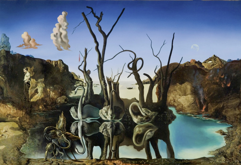 Salvador Dali. Swans reflected in elephants