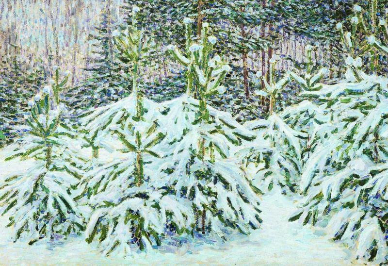 Nikolay Vasilyevich Mescherin. Pines under the snow