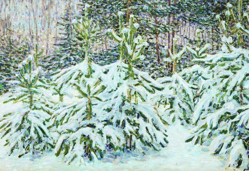 Nikolay Vasilyevich Mescherin. Pines under the snow