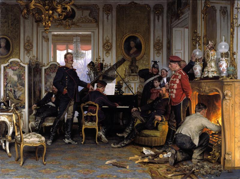 Антон фон Вернер. Военные на постое в пригороде Парижа