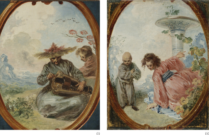 """Antoine Watteau. """"VIOSSEU"""" OR CHINESE MUSICIAN; CHINESE WOMAN OF KOUEI TCHÉOU: A PAIR OF PAINTINGS"""