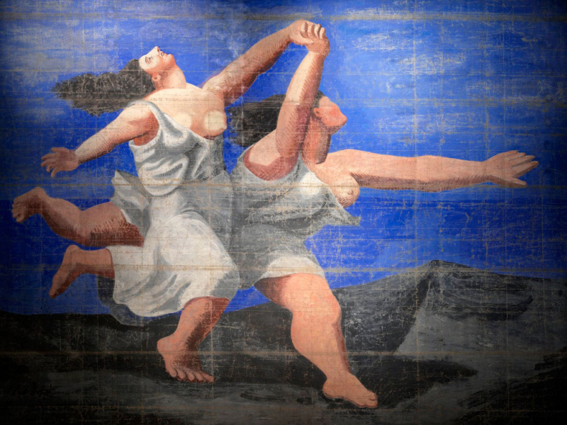 "Pablo Picasso. Two women running on the beach (Curtain for the ballet ""Blue Express"")"