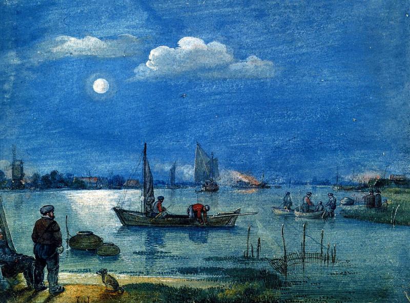 Хендрик Аверкамп. Рыбаки в лунном свете.
