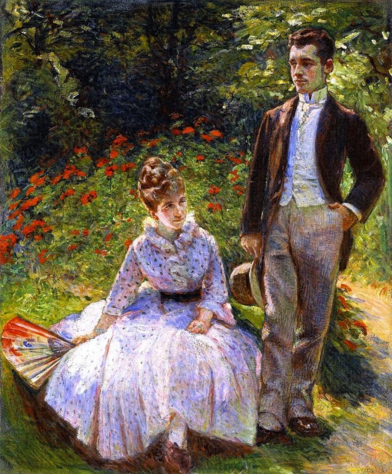 Мари Бракемон. Пьер и его тетя Луиза в саду