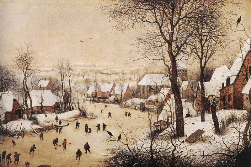 Pieter Bruegel The Elder. Winter landscape with ice-skating and a trap for birds