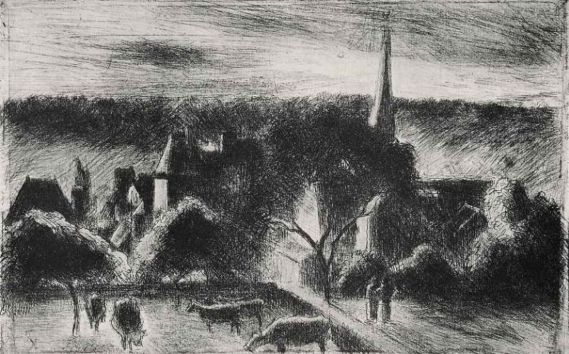 Camille Pissarro. Church and manor in Eragny