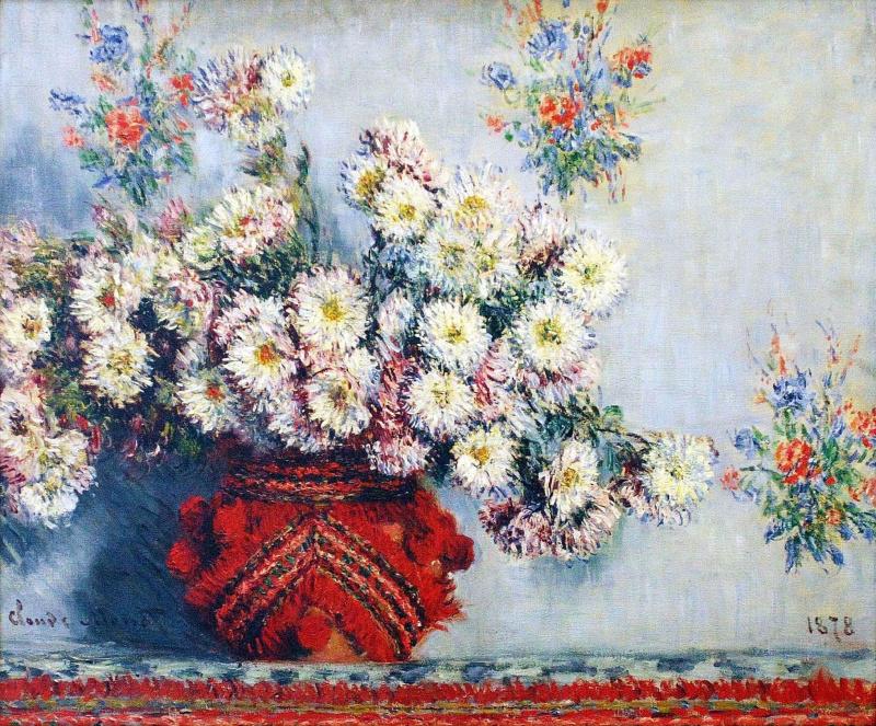 Клод Моне. Ваза с хризантемами