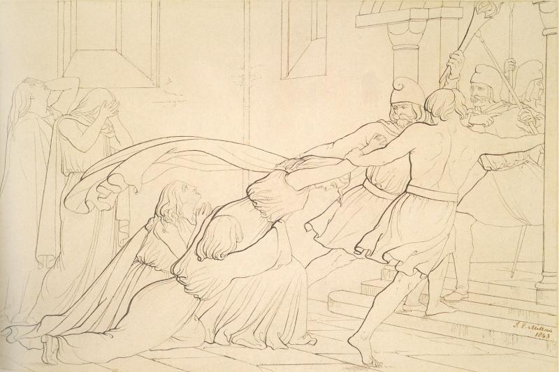 John Everett Millais. Elvira seized by order of Odo Archbishop of Canterbury